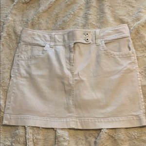 LOFT white denim mini skirt